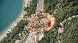 Aerial View of Landslides on road near the seaside