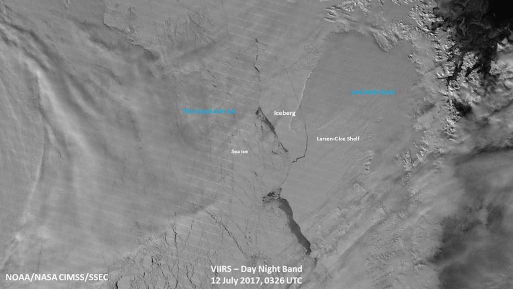 Larsen C fotografato da Visible Infrared Imaging Radiometer Suite (VIIRS) sul satellite NOAA/NASA Suomi NPP