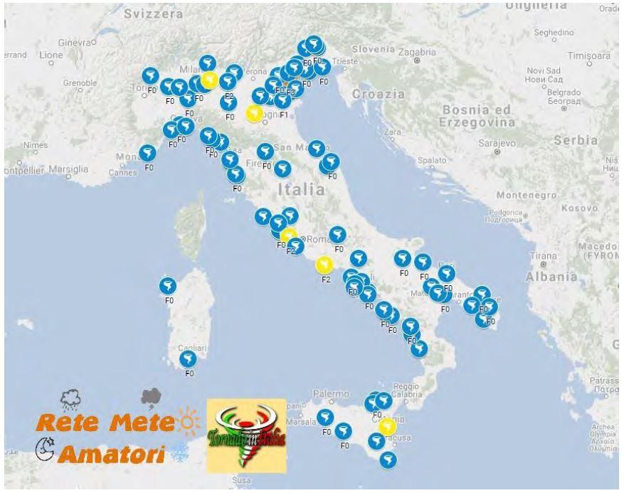 Tornado in Italia tra il 2014 e il 2017