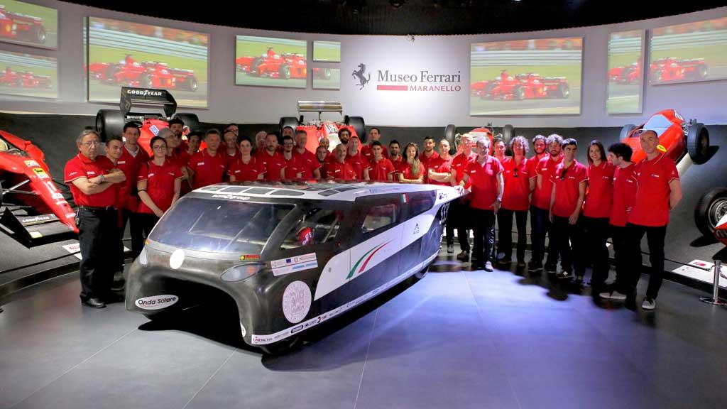 Emilia 4, la prima auto solare a 4 posti costruita in Italia. La presentazione presso il Museo Ferrari a Maranello
