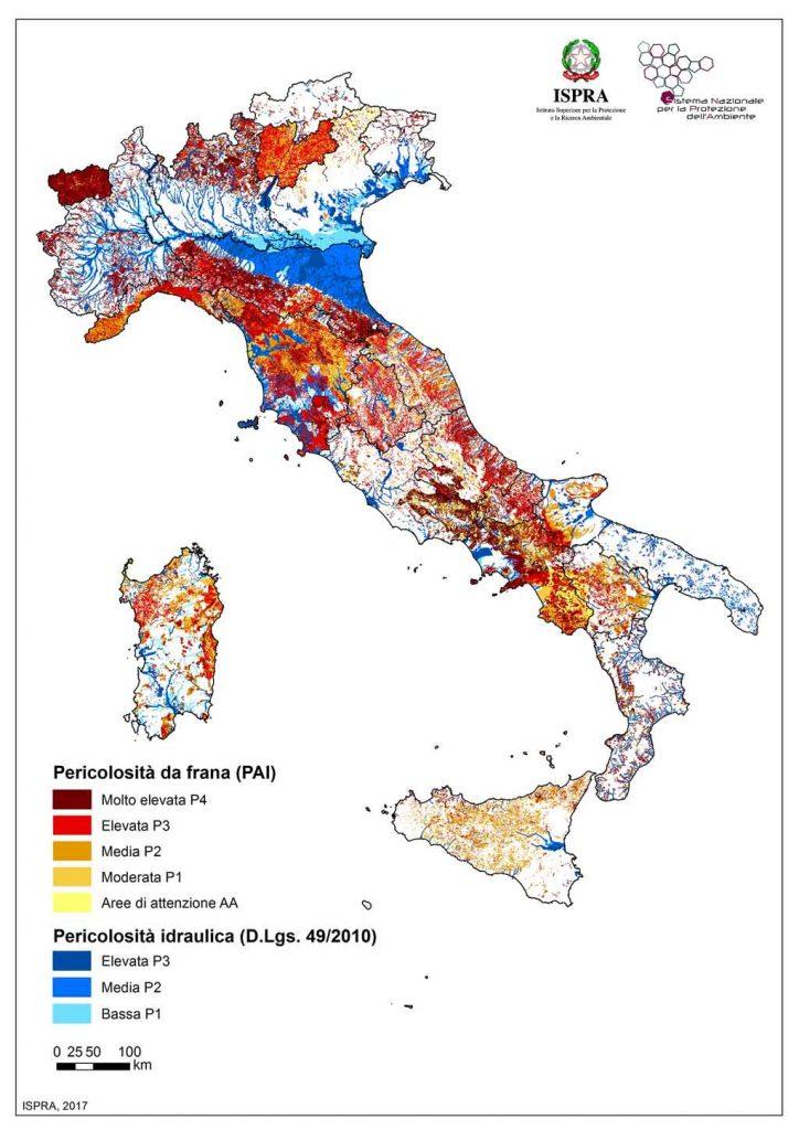 Mappa ISPRA - Italia a rischio frane e alluvioni