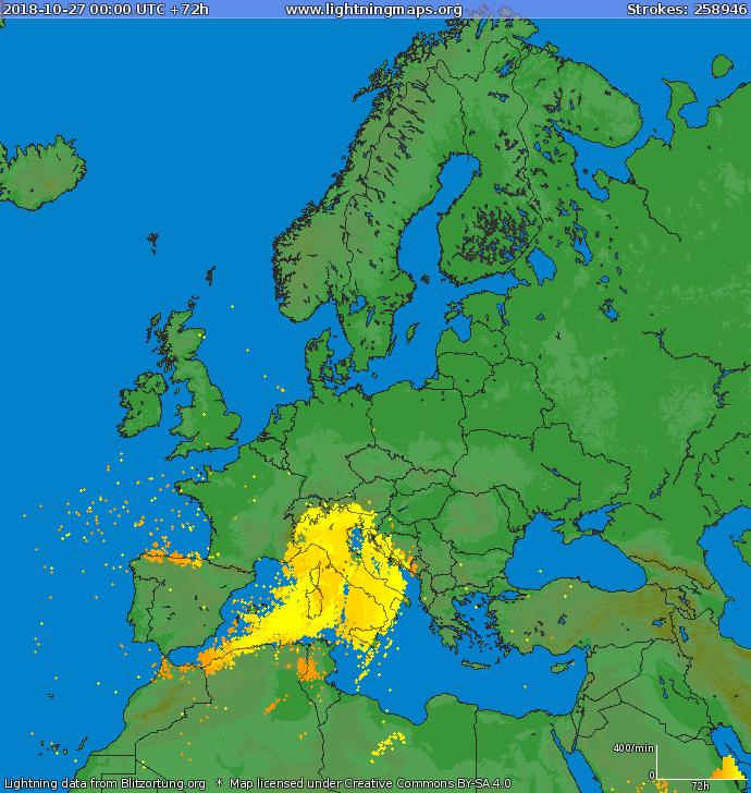 Sono più di 250 mila i fulmini caduti tra il 27 e il 30 ottobre attorno e sull'Italia