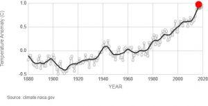 Temperature medie globali dal 1880 ad oggi. Fonte NASA/GISS