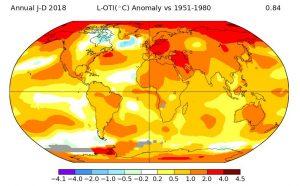 Riscaldamento globale: l'anomalia delle temperature globali nel 2018. Fonte NASA